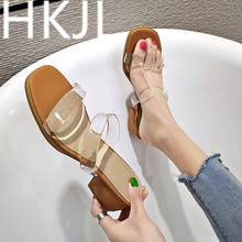 HKJL Transparent slippers with plastic fashion 2019 new style sandals for women to wear high heels chunky A435