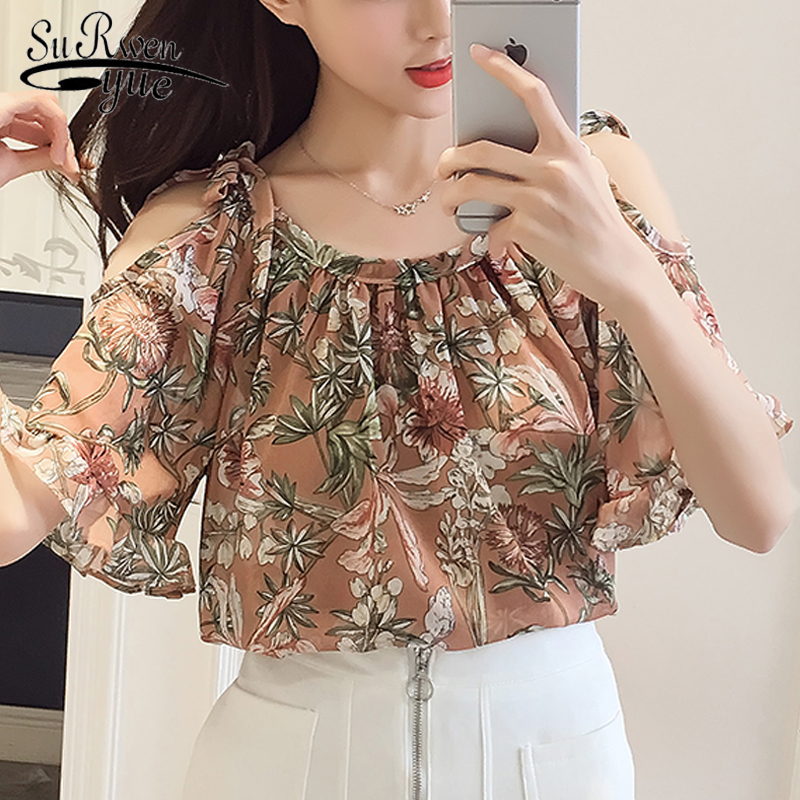 New 2018 Summer Women Blouse Shirt Short Sleeve Chiffon Holiday Female Clothing Fashion Sweet Women Floral Tops Blusas D700 30