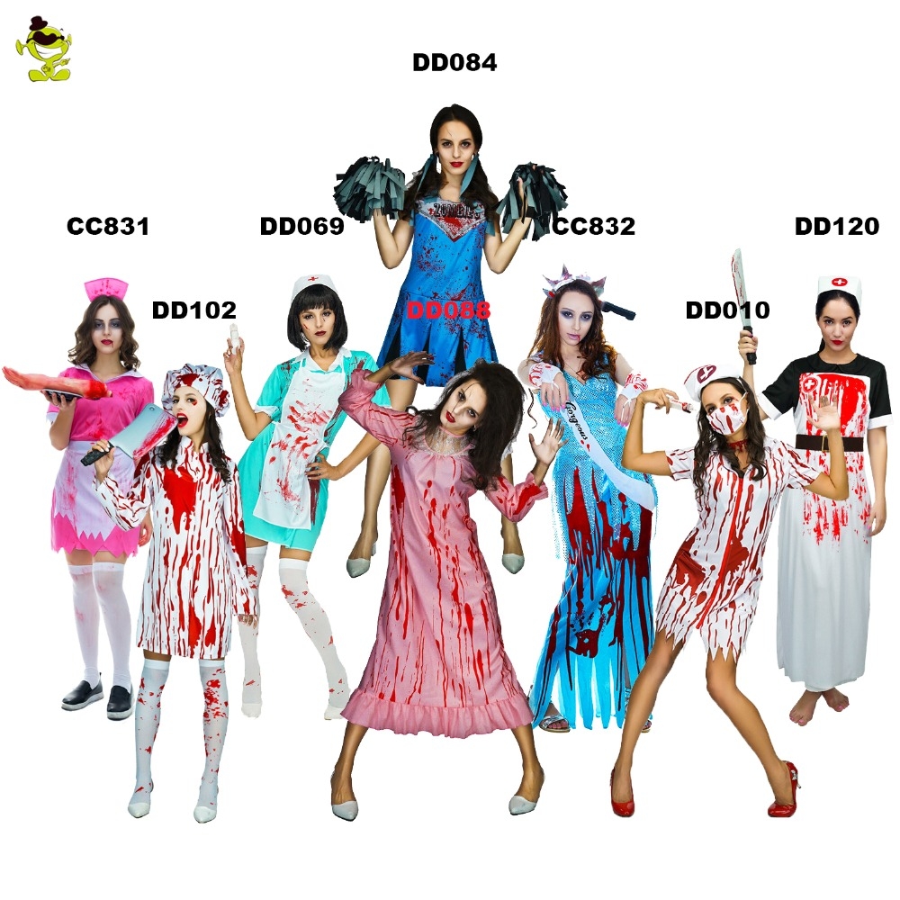 Womens Zombie Nurse Costumes For Halloween Scary Bloody Mary Students Roleplay Bloody Costume Party For Cosplay
