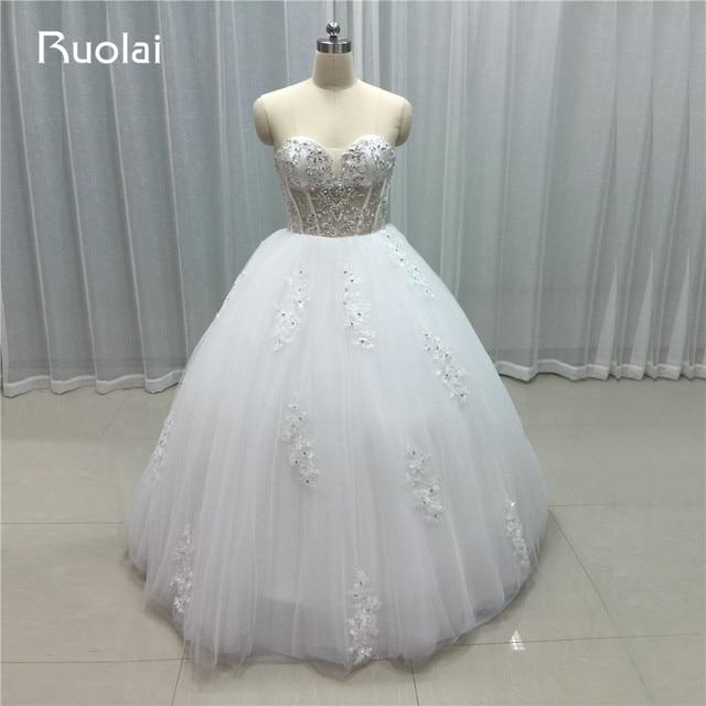 38044cffeeac4 سباركلي صورة حقيقية الحبيب قبالة الكتف الكرة ثوب الأميرة الزفاف فساتين 2019  الأبيض فستان زفاف يزين