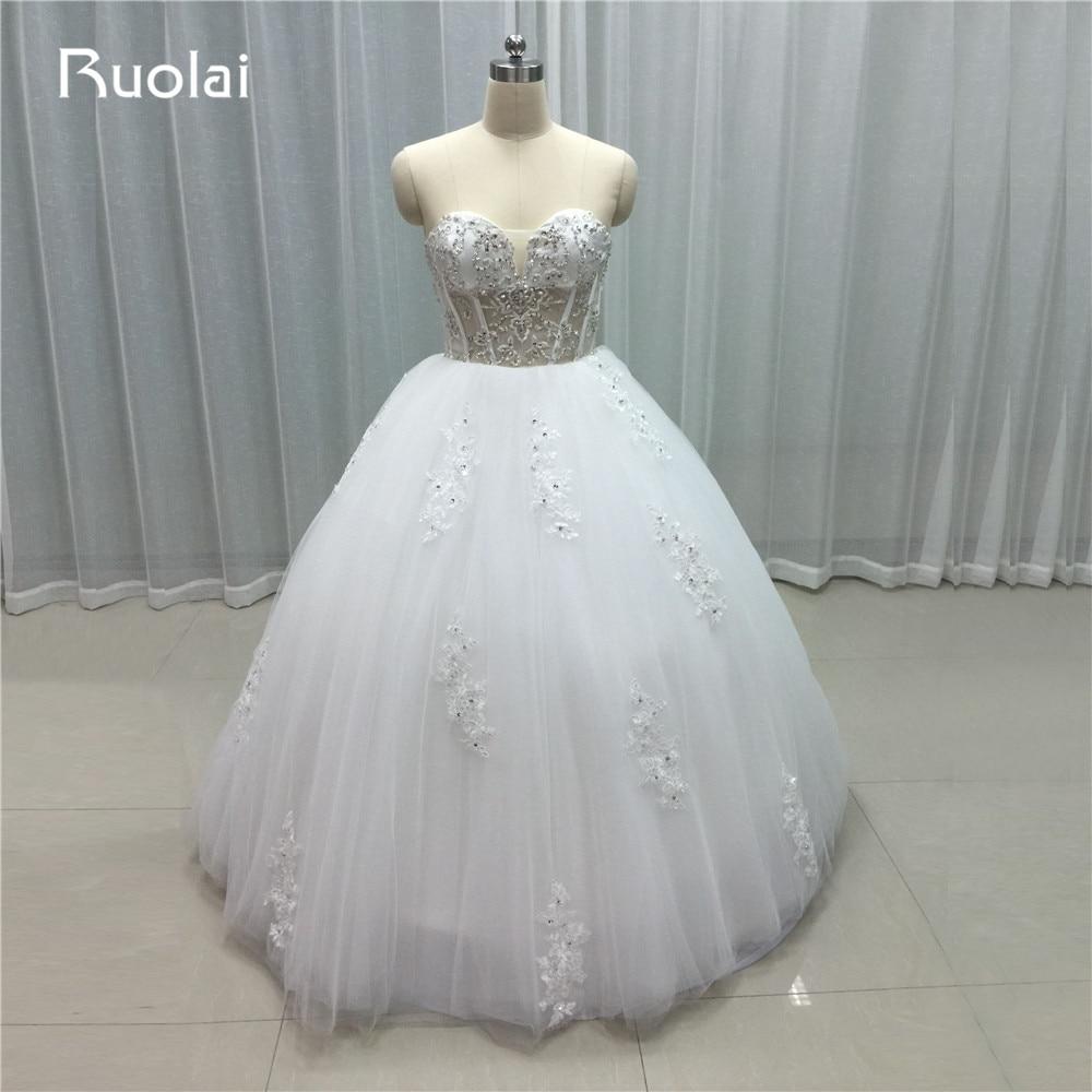 Świecący prawdziwy obraz Sweetheart Off the Shoulder Ball suknia Księżniczka Suknie ślubne 2019 Biała suknia ślubna Aplikacje Beaded FW21