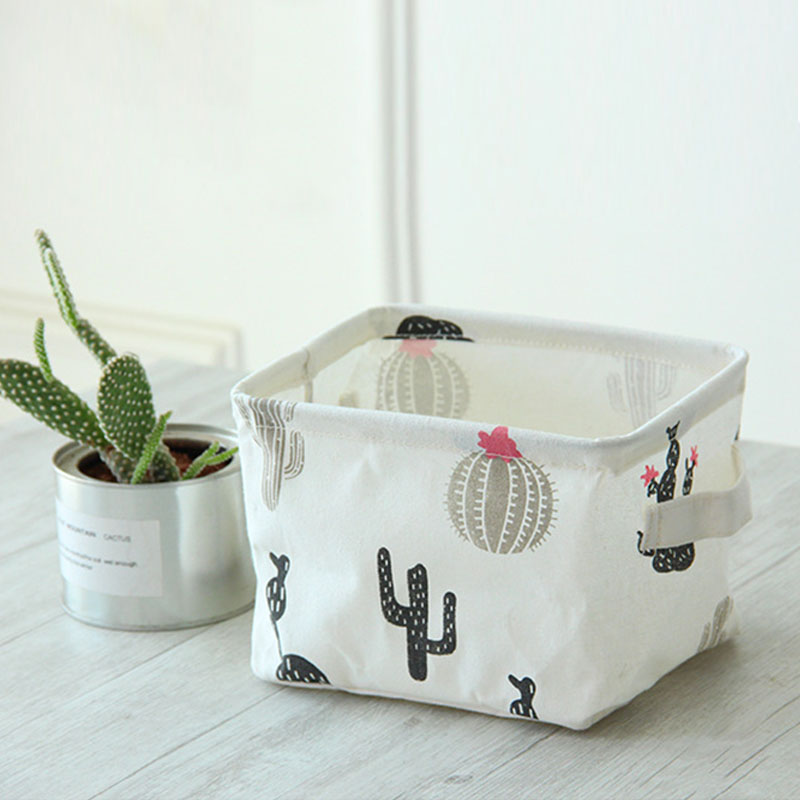 20*14*16cm Canvas Makeup Organizer Sundries Box Desktop Toys Home Accessories Fabric Storage Basket Coin Storege Bag
