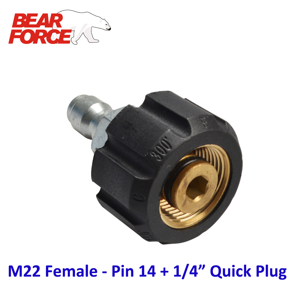 High Pressure Washer Car Washer Brass Connector Adapter M22 Female Pin 14mm + 1/4