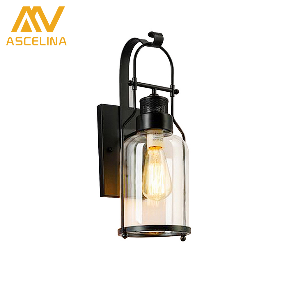 wall Lamp Loft American Rural hall bedroom light creative industrial retro metal dining lamps bar Study  aisle glass box outdoor vintage industrial edison glass bottle wall lamp loft retro wall light bedroom aisle cafe bar store hall bedside hall lighting