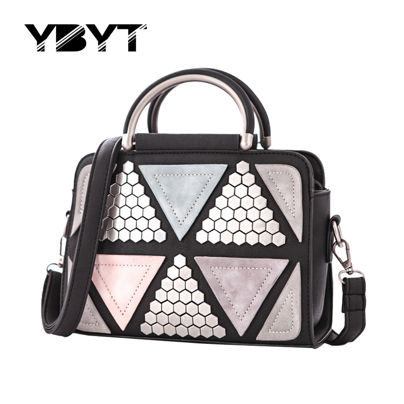 YBYT brand 2017 new patchwork casual rivet totes women shopping handbag hotsale