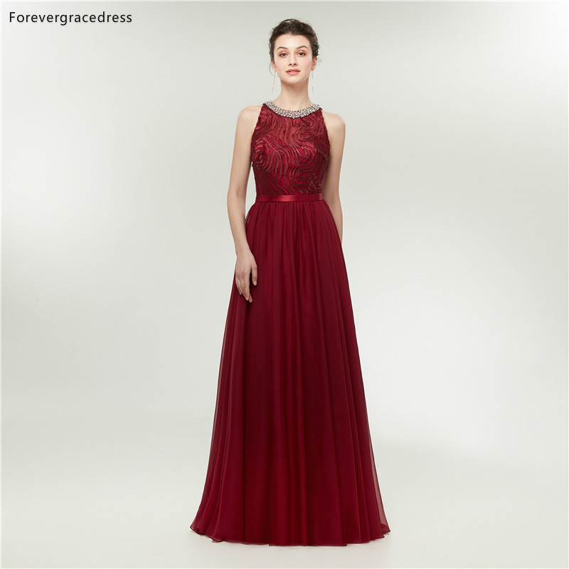 Forevergracedress Burgundy   Evening     Dresses   2019 Sexy A Line Beaded Chiffon Lace Formal Party Gowns Plus Size Custom Made