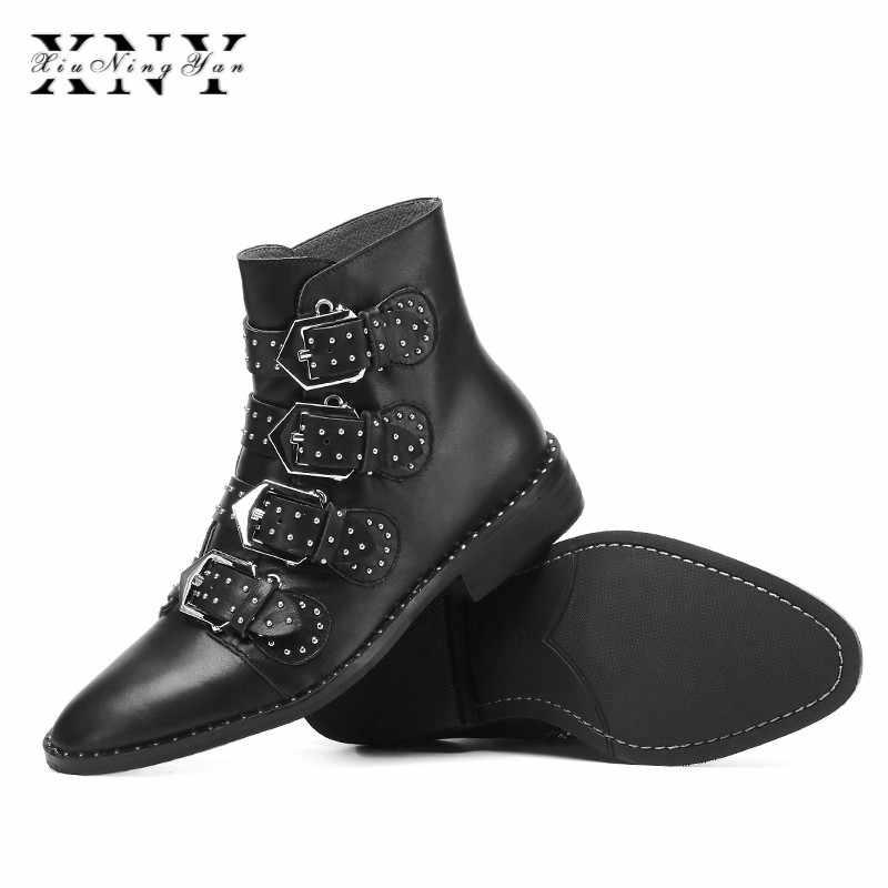 XIUNINGYAN projektanci marki 2019 nowa wiosna jesień damskie buty czarne niskie obcasy buty platforma buty do kostki buty na Chunky Plus rozmiar 33- 43