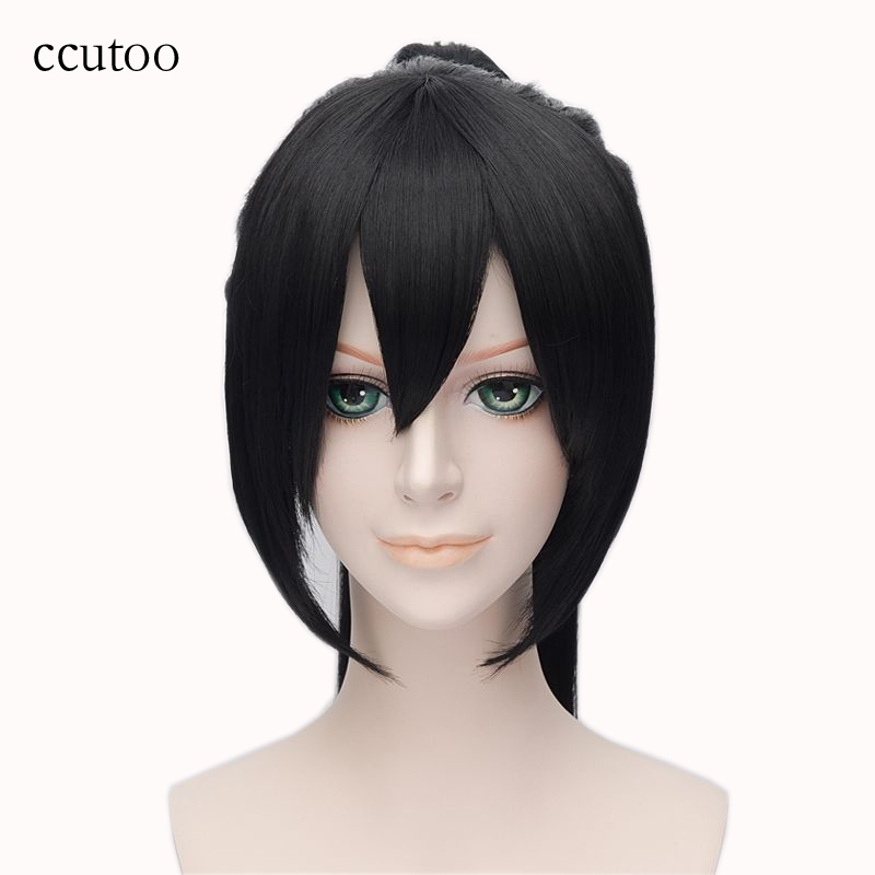 ccutoo 28inch Black Long Straight Elastic Lace Synthetic Hair Heat Resistance Fiber Cosplay Full Wigs Peluca