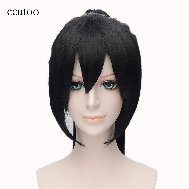 ccutoo 28inch Black Long Straight Hakuouki Yukimura Chizuru Synthetic Hair Heat Resistance Fiber Cosplay Full Wigs Chip Ponytail
