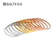 BAOYAN Rvs Armbanden Set Voor Vrouwen Indian Bridal Bangle Set 12 stks/partij Rose Goud Zilver Goud Tri Kleur bangle Armbanden