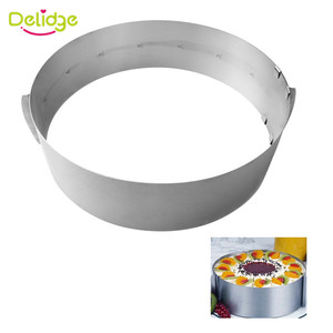 Image 2 - Delidge 2 sztuk/zestaw ze stali nierdzewnej regulowane ciasto z musem pierścień 3D okrągła i kwadratowa forma do ciasta ciasto foremki na ciastka