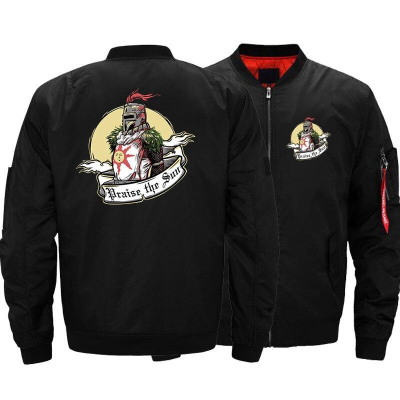 USA SIZE hombres chaquetas de bombardero de Dark Souls impreso caliente cremallera vuelo chaqueta invierno espesar hombres abrigos moda Marca Ropa nuevo