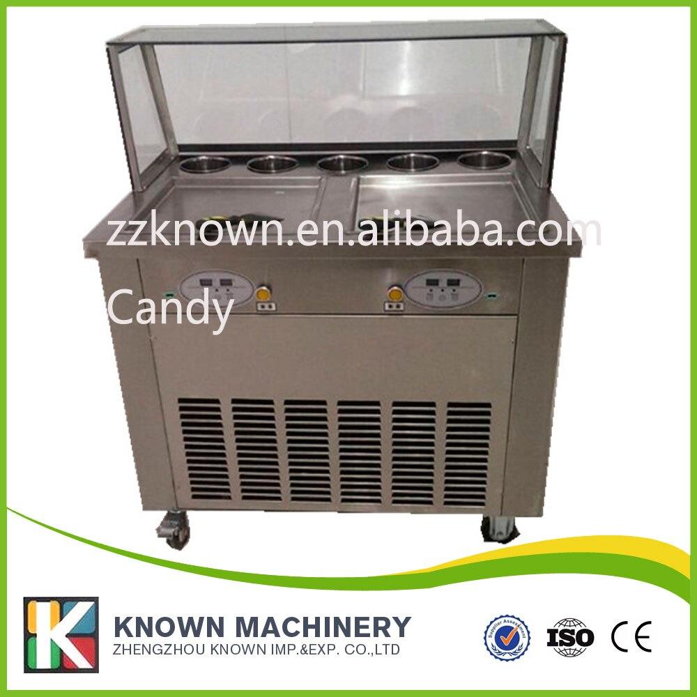 Полностью из нержавеющей стали Бесплатная доставка 110/220 В Жареное мороженое рулон машина сковороде плоской мороженого жареное мороженое машина