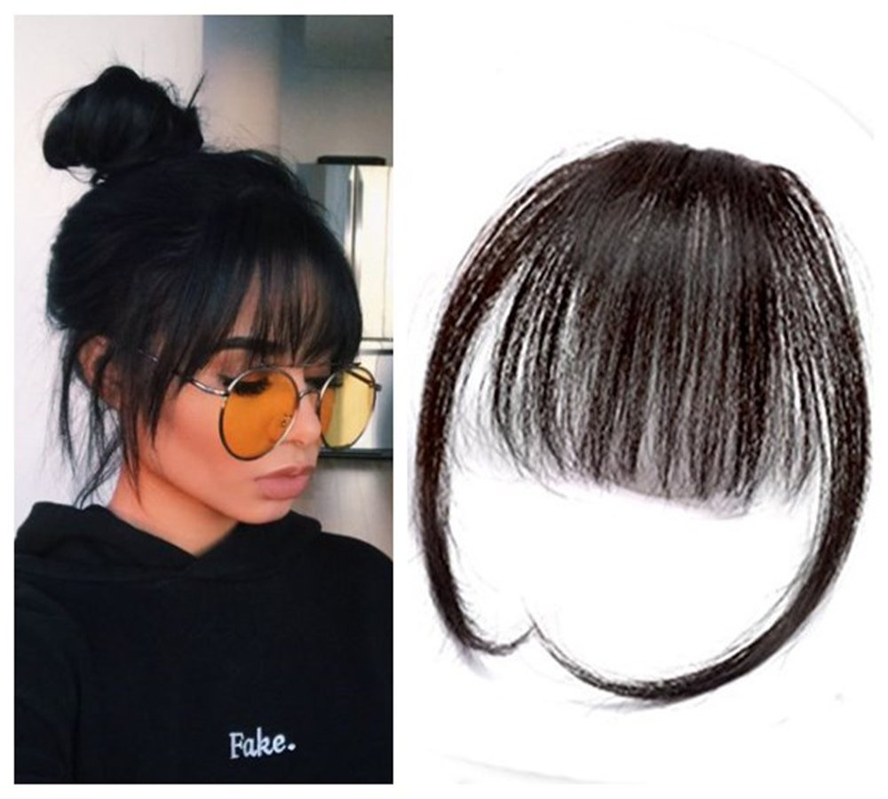 AOSIWIG Synthetic Bang Natural Brown Blond Black Fake Fringe Clip In Bangs long Hair Extensions With High Temperature