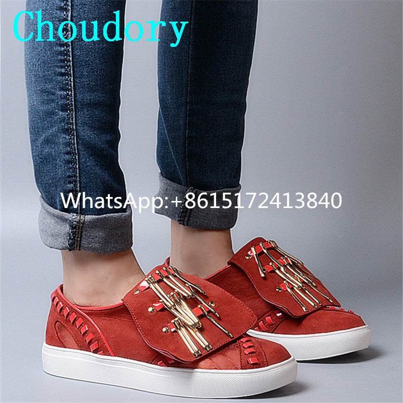 Choudory Leather Casual Round Toe Slip-On Loafers Increased Internal New Fashion Low Heel Platform Metal Decoration Women Shoes