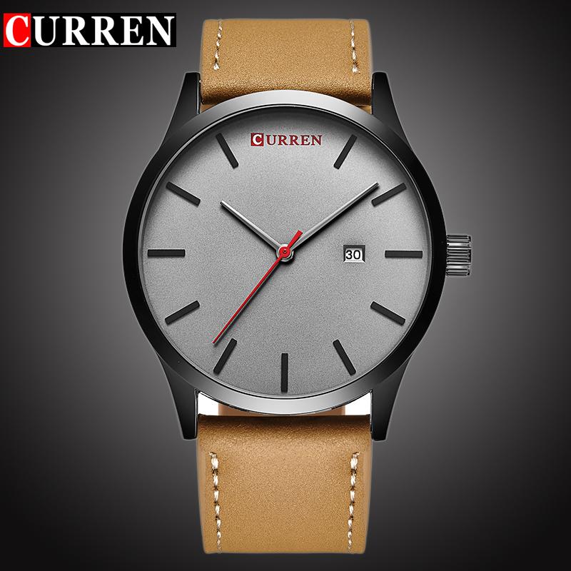 Prix pour CURREN Top Marque De Luxe de Quartz montre hommes Casual montre-Bracelet En Cuir Horloge Mâle D'affaires auto Date Étanche Nouveau