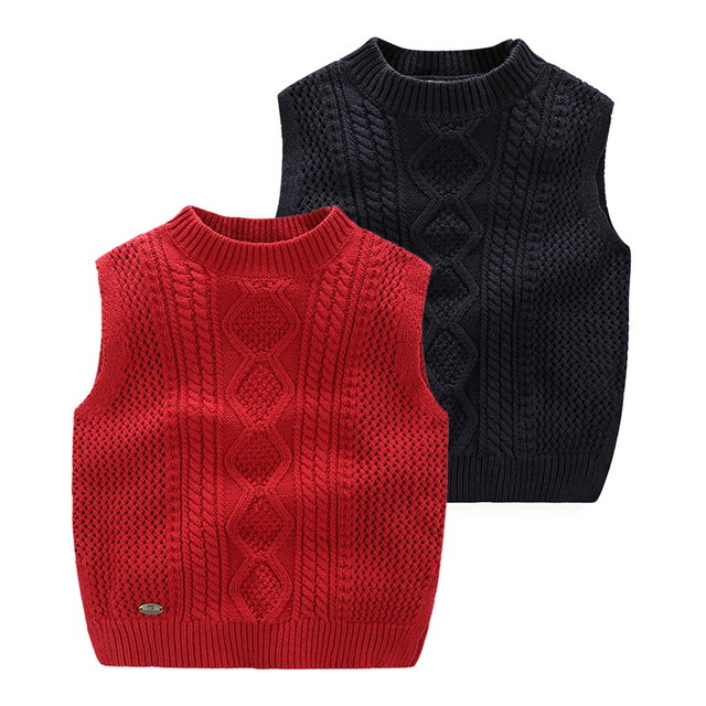 af34d19ec Toddler Boys Sleeveless Sweater Spring Autumn Children s Clothing  2-3-4-5-6-7 Age Kids Boys Knitted Vest Red Navy Blue Outerwear