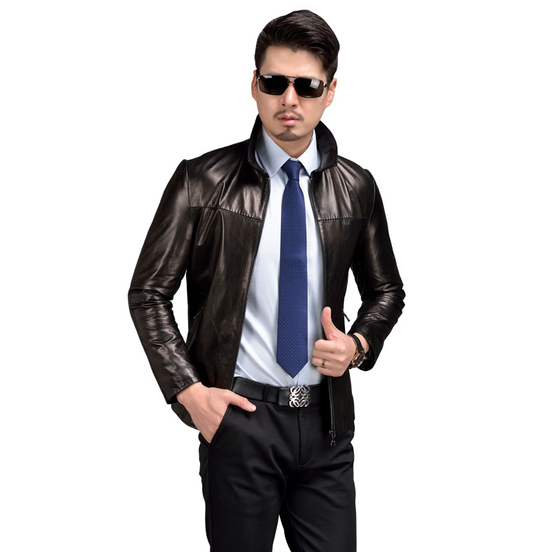AIBIANOCEL Brand New Genuine Leather Jacket Men Goatskin Real Leather Jackets Mens Spring Skin Leather Jacket Brown M-5XL 58510