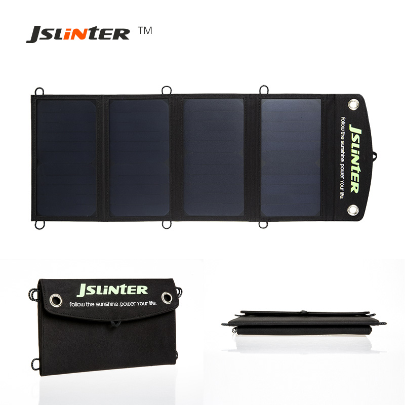 Jslinter New Solar Charger 24W 2 Ports Portable Battery Charging Treasure with Auto Technology High Power Solar Panel Cell 1800mah portable solar power solar power battery pack for cell phones and usb gadgets