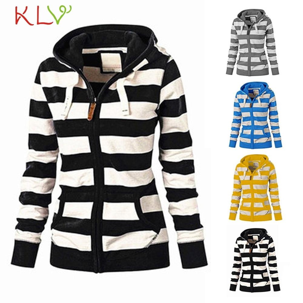 Basic Jackets Dedicated Women Jacket Winter 2018 Long Striped Hooded Sweatshirt Zipper Plus Size Ladies Chamarra Cazadora Mujer Coat For Girls 18oct23 Women's Clothing