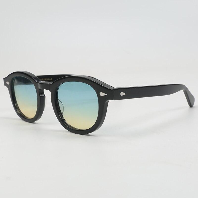 Mode Johnny Depp lunettes de soleil hommes femmes avec étui $ Box marque de luxe Designer bleu clair lunettes de soleil pour homme femme Oculos QF186