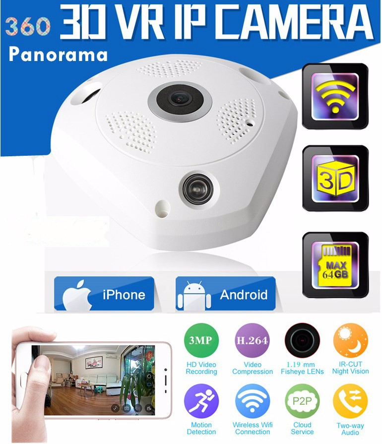 цена на Free Shipping 1280*960 360 Degree Fisheye Panorama Camera HD Wireless VR Panorama HD IP camera P2P Indoor Cam Security WiFi Cam