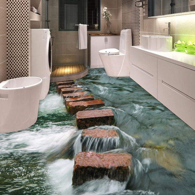 Custom 3D Floor Sticker Vinyl Mural Wallpaper For Walls 3 D River Stones Bathroom Decor