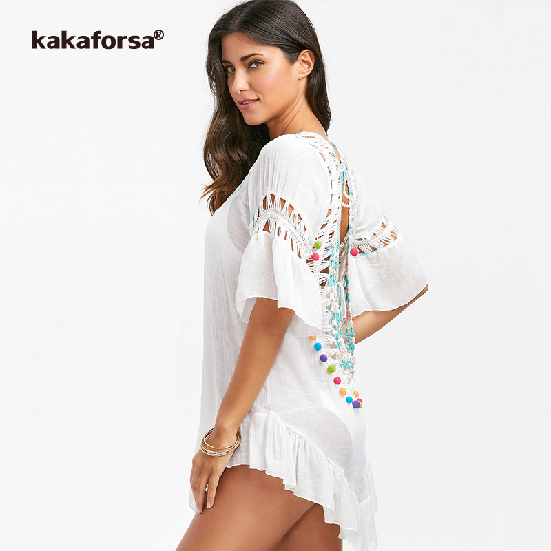 90fa2c71f8 Kakaforsa 2019 Sexy Crochet Beach Cover Up Open Back Summer Beach Dress  Cotton Ruffle Ball Swimwear Cover Up Solid Robe De Plage-in Cover-Ups from  Sports ...