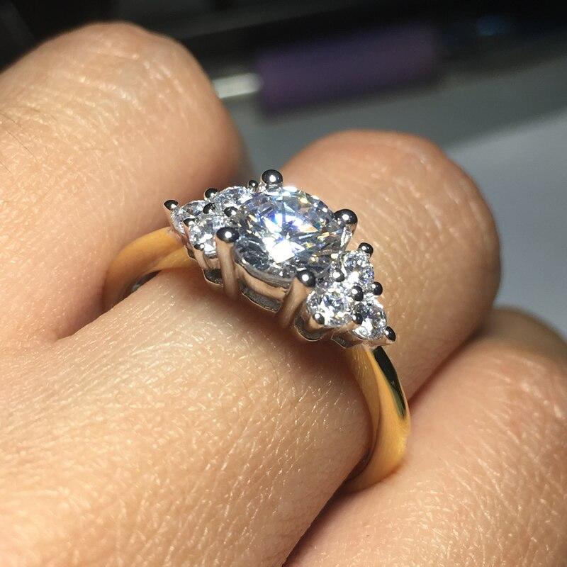 Image 2 - AINOUSHI кольцо из стерлингового серебра 925 пробы желтого золота с тремя камнями и круглой огранкой, обручальное кольцо для женщин, обручальное кольцо для влюбленных, ювелирные украшения-in Обручальные кольца from Украшения и аксессуары