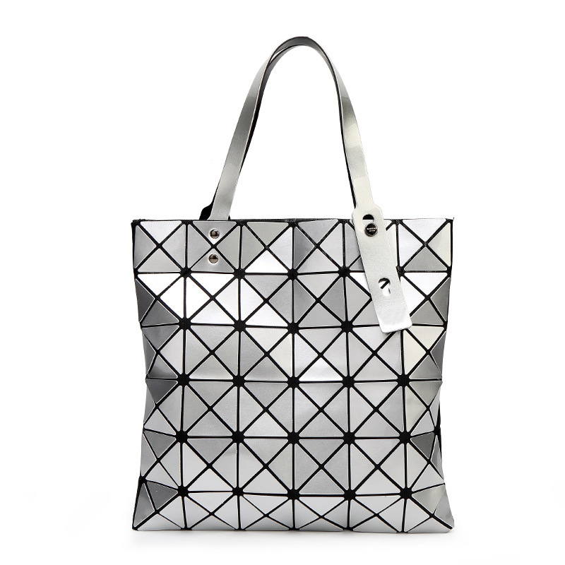 WSYUTUO Handbag Female Folded Ladies Geometric Plaid Bag Fashion Casual Tote Women Handbag Mochila S