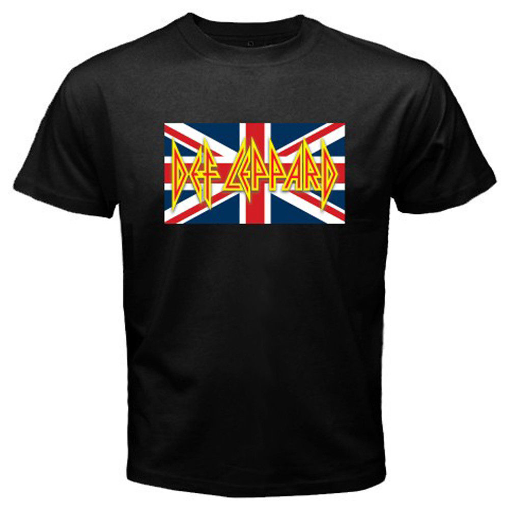 Design t shirt cheap uk - Gildan Brandest Men Cool Def Leppard Uk Flag Logo Rock Band Legend Design T Shirt Cool