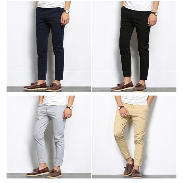 BROWON Autumn Men Fashions Solid Color Casual Pants Men Straight Slight Elastic Ankle Length High Quality