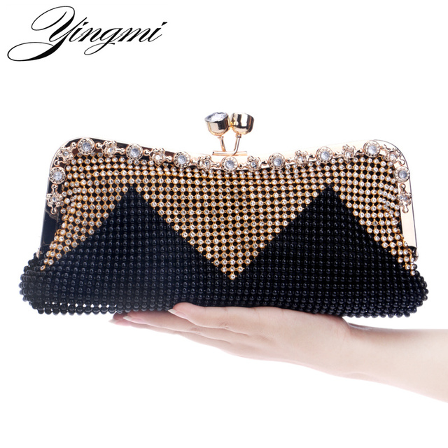 YINGMI Women Day Clutch Evening Bags Diamonds Beaded Soft Small Chain  Shouler Messenger Bag Crystal Wedding 15e99ca05e97
