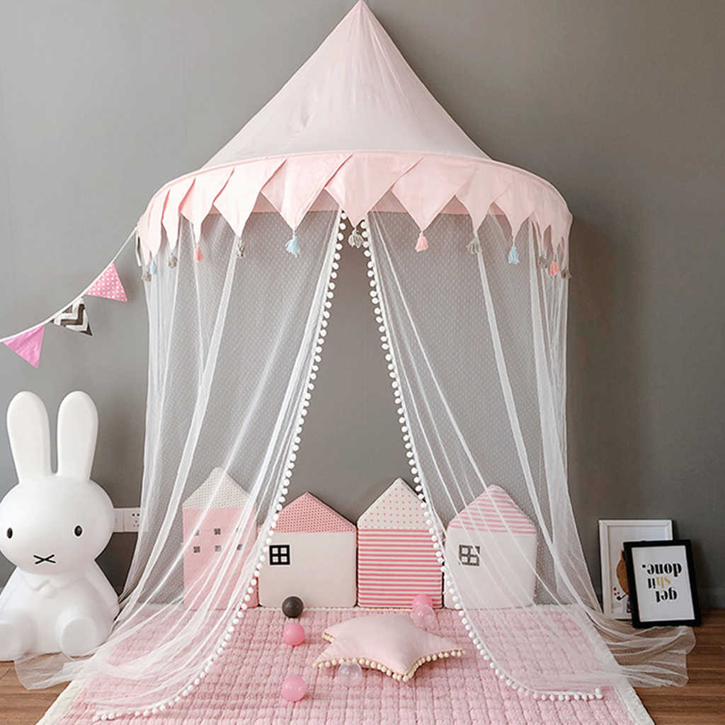 Baby Half-moon Shape Nursery Bed Canopy, Children Hanging Play Tent Mosquito Net for Kids Baby Bedroom Decoration -L –Pink