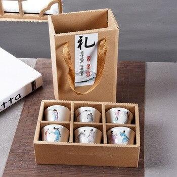 6 pcs มือทาสีเซรามิคชุดถ้วยชาจีนชุด Kung Fu ชุดถ้วยชา, ชาชามจีน Porcelain Teacup ชุดของขวัญสร้างสรรค์