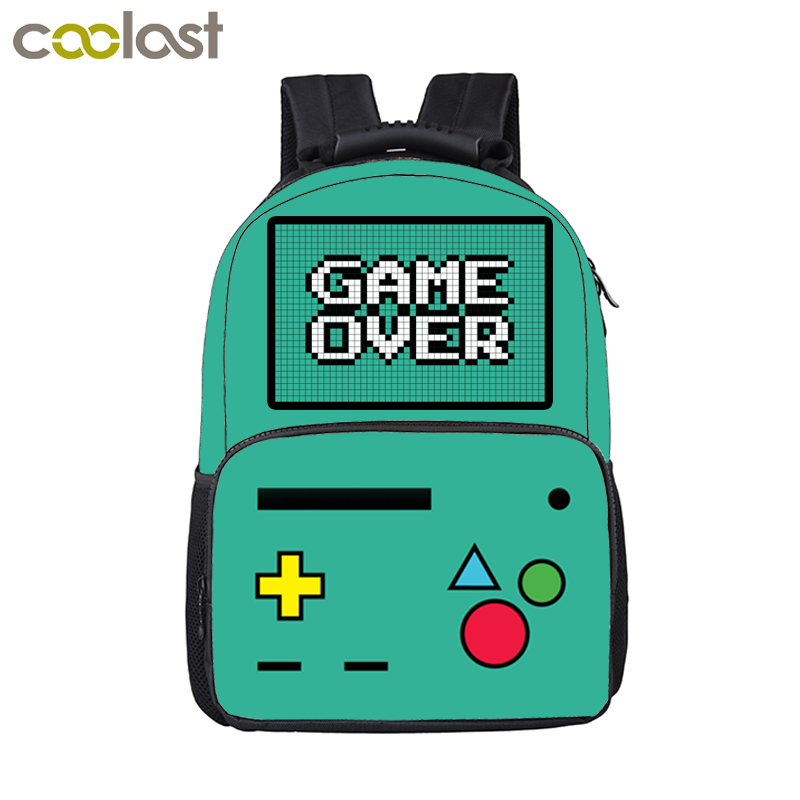Funny Cartoon Game Over Backpack For Teenage Boys Girls Children School Bags Kids Backpack Laptop Shoulder Bags Best Gift