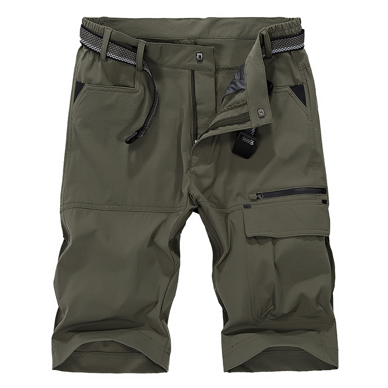 YIHUAHOO Casual Shorts Men Multi Pockets Military Army Cargo Male Shorts Thin Breathable Quick Dry Sporting Short Pants MS-16962