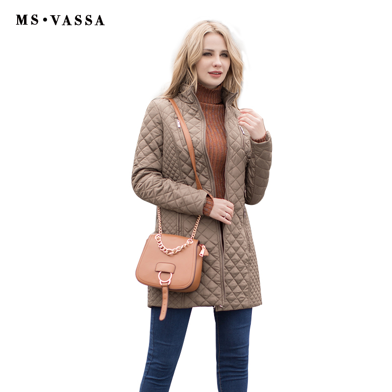 MS VASSA New Jackets 2018 Women Winter padded jacket stand up collar long quilted coats plus