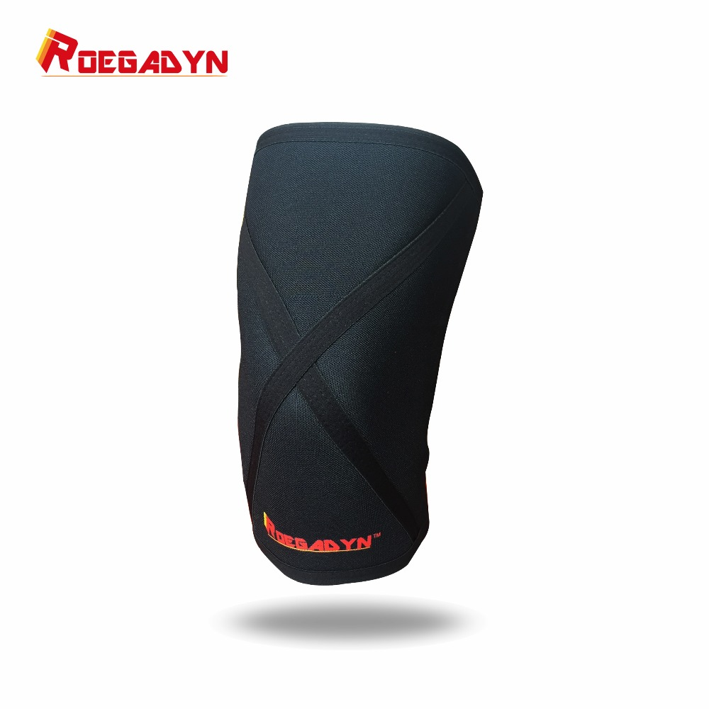 2018 ROEGADYN Professional Quality 7mm Stiff Neoprene Compression Knee Sleeves Weight Lifting Knee Support Brace for Squats цена