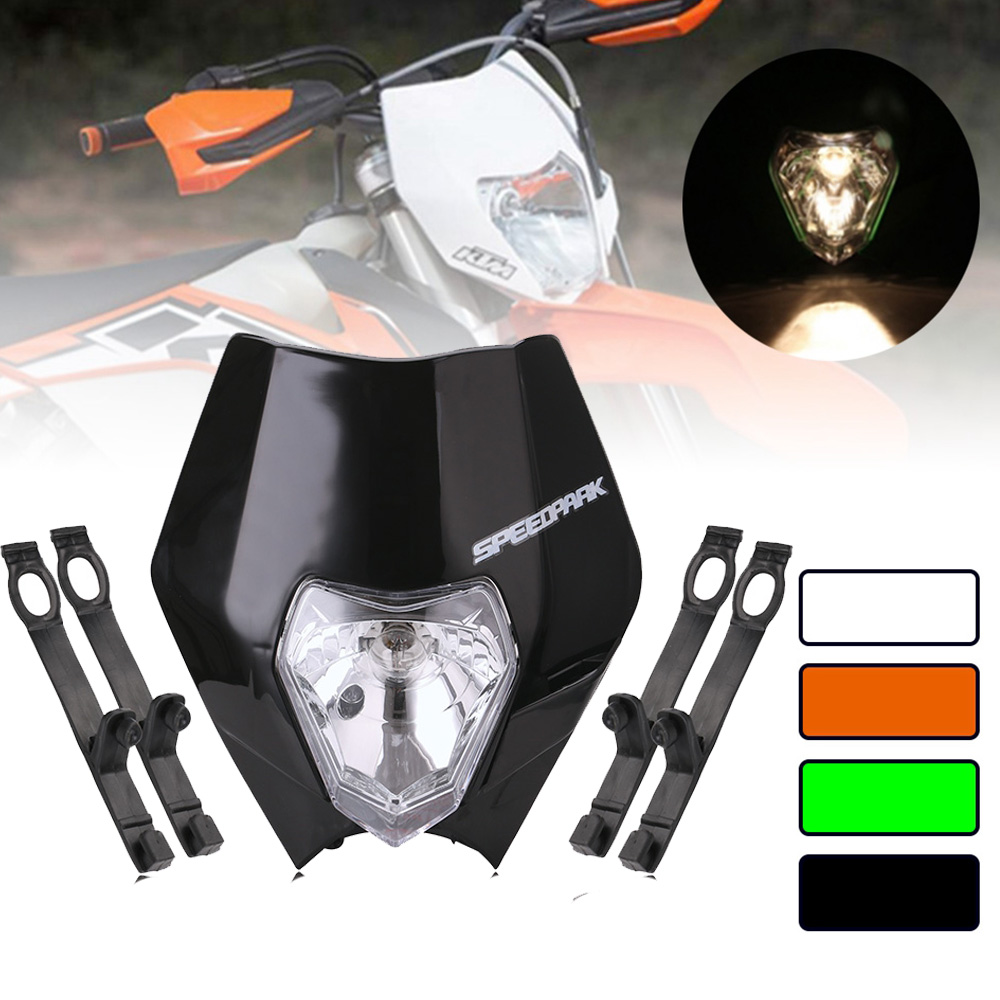 Universal 12V 35W Motorcycle Headlight Motocross Dirt Bike Dual Sport Headlamp Supermoto Head Light For KTM SMR EXC XC XCF|  - title=