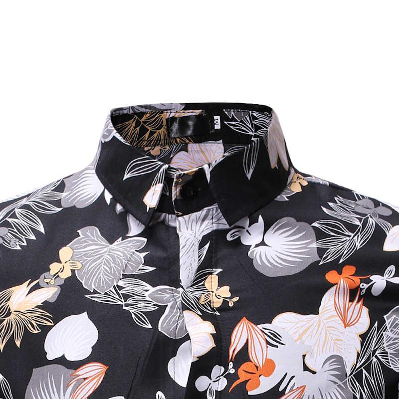 Мужская хипстерская гавайская рубашка 2018 Модная приталенная рубашка с коротким рукавом и цветочным принтом Camisa Masculina праздничная одежда для отдыха для мужчин 3XL