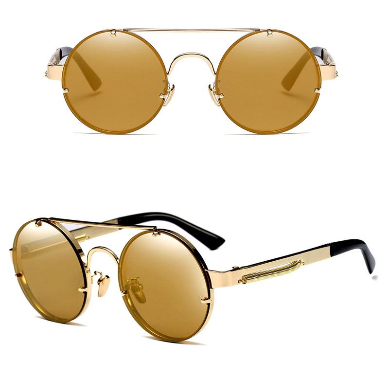 01e3cc45b76 Pop Age Newest Best Quality Round Steampunk Sunglasses Men Mirror ...