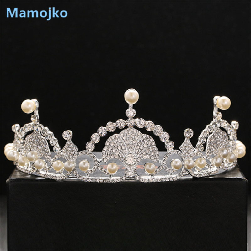 Mamojko Fashion Jewelry White Rhinestone & Imitation Pearl Crown For Woman Wedding Dress Accessory Tiara For Bride Hair Ornament