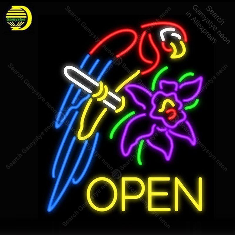 Enseigne au néon pour perroquet fleur ouverte enseigne au néon affichage lumineux bière Club signe Tubes en verre fabriqués à la main enseignes au néon remplir le gaz