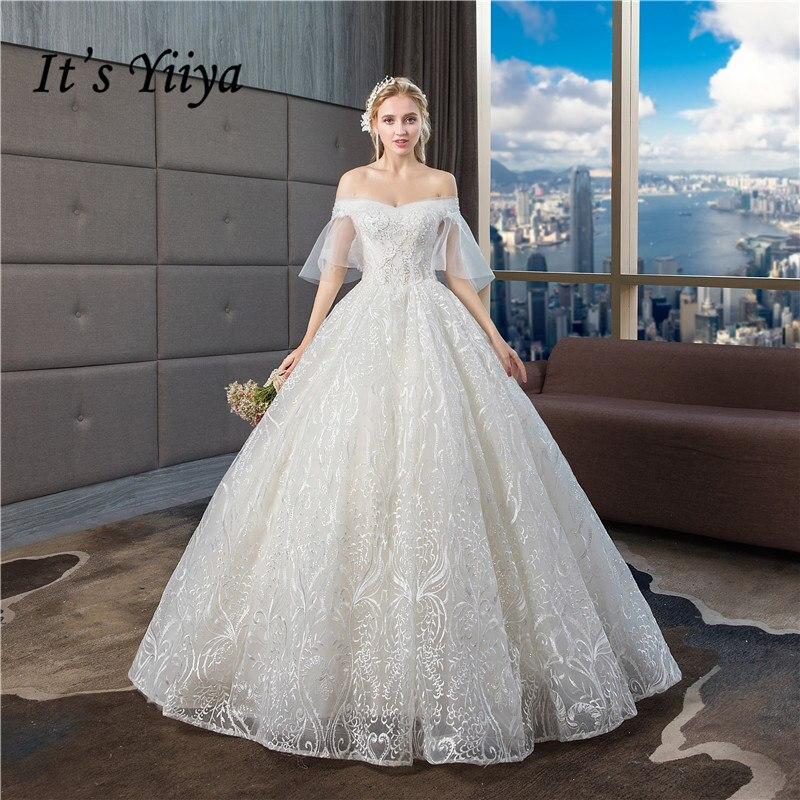 It's YiiYa Wedding Dress 2019 Boat Neck Elegant White Lace