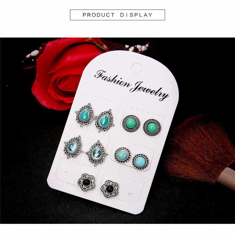 5 זוג בוהמיה מגולף פרח אופל עגיל סט עגילי הרבעה בציר עגילי נשים קריסטל עגילי תכשיטים