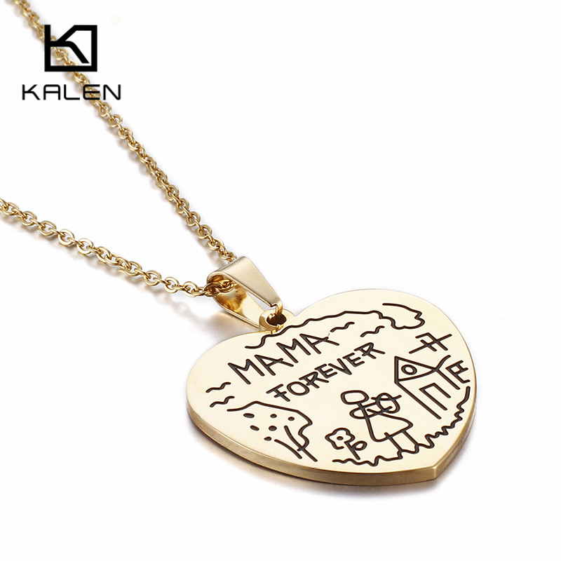 Kalen Brand Gold-Color Minimalist MAMA FOREVER Heart Pendant Necklace Choker Fashion Jew ...