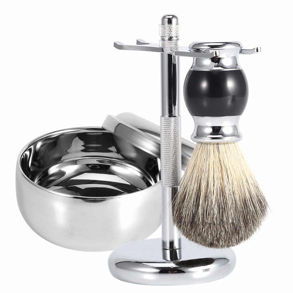 Профессиональный мужской инструмент для бритья набор из нержавеющей стали бритва подставка для бритвы держатель + кисть из искусственного волоса + кружка для мыла комплекты накладок из сплава