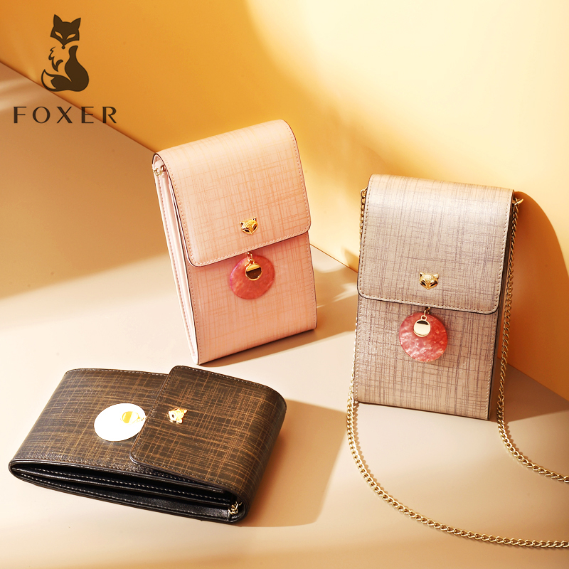 FOXER Women Crossbody Bag Split Leather Shoulder Bags Fashion Messenger Bags with Cell Phone Pocket for Women Birthday Gift