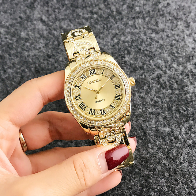 CONTENA Rose Gold Watch Women Watches Ladies Rhinestone Women's Bracelet Watches Female Clock Relogio Feminino Zegarek Damski